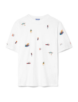 Embroidered Cotton Jersey T Shirt by Sjyp