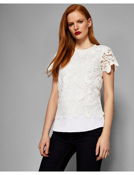 Lace Front Short Sleeved Knit by Ted Baker