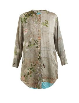 Celia Chrysanthemum Print Silk Top by By Walid