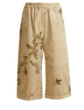 Hazy Jungle Print Cotton Canvas Wide Leg Trousers by By Walid