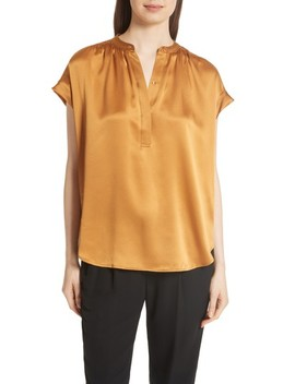 Shirred Neck Silk Top by Vince