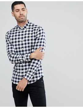Farah Muriel Slim Fit Check Poplin Weave Shirt In Navy by Farah