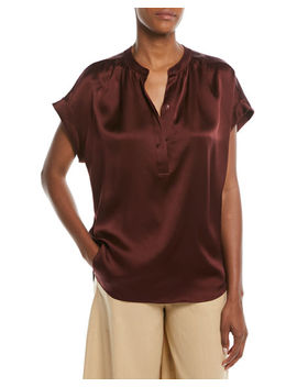 Silk Shirred Neck Cap Sleeve Blouse by Neiman Marcus