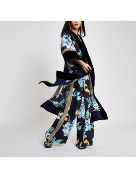 Navy Floral Print Satin Kimono by River Island