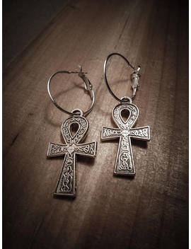 Silver Hoop Earrings Boho Chic ♠ ♠ Ankh Egypt by Etsy