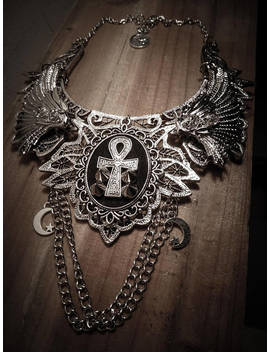 Lace Bib Necklace Silver Ankh Egyptian Eye Egyptian Goddess by Etsy
