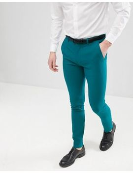 Сине зеленые строгие брюки скинни Asos Design by Asos