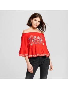 Women's Off The Shoulder Embroidered Bell Sleeve Top   Xhilaration™ by Xhilaration™