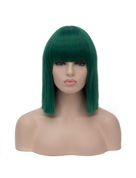 Similler Women Short Bob Synthetic Wigs High Temperature Fiber Hair With Fringe/Bangs And Rose Net Dark Green Blue Purple by Similler