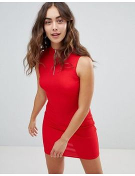 New Look Zip Detail High Neck Bodycon Dress by New Look