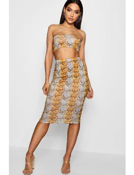 Rosie Snake Bandeau And Midi Skirt Co Ord by Boohoo