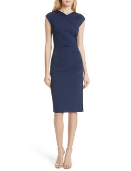 Ruched Cap Sleeve Jersey Body Con Dress by Dvf