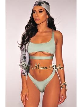 Sage Glistening Spaghetti Straps Cut Out Bikini by Hot Miami Style
