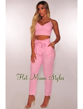 Pink Linen High Waist Paperbag Belted Two Piece Set by Hot Miami Style