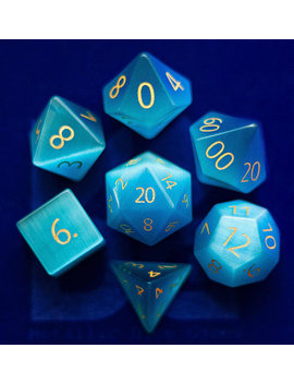 Engraved Cat's Eye Aquamarine Gemstone Polyhedral Dice Set: Hand Carved With Quality! Full Sized 16mm.Great For Dn D Rpg Dungeons And Dragons by Etsy