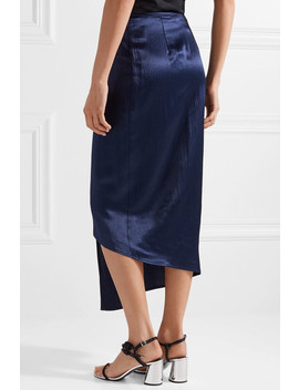 Wrap Effect Hammered Satin Midi Skirt by Sid Neigum
