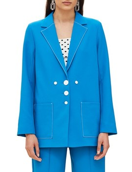 Azure Contrast Stitch Suit Jacket by Topshop
