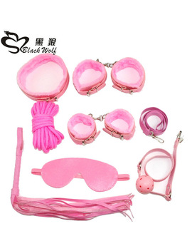 Pink Erotic Adult Sex Products 7 Games Leather Handcuffs Whip Rope Slavery Mask Bdsm Fetish Sex Toy Lovers Of Slavery Constraint by Blackwolf
