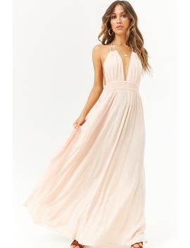 Tasseled Halter Crinkled Maxi Dress by F21 Contemporary