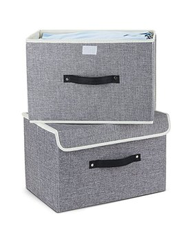 Storage Bins,Mee'life Set Of Two Foldable Storage Box With Lids And Handles Storage Basket Storage Needs Containers Organizer With Built In Cotton Fabric Closet Drawer Removable Dividers (Light Gray) by Mee'life Storage