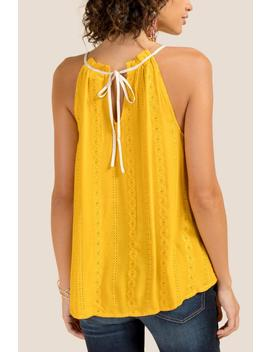 Nikki High Neck Embroidered Eyelet Tank Top by Francesca's