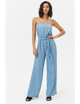 Strapless Chambray Jumpsuit by F21 Contemporary