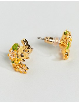 Bill Skinner Gold Plated Rabbit & Hare Stud Earrings by Bill Skinner