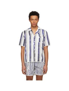 White & Blue Bold Stripe Pyjama Shirt by Daniel W. Fletcher
