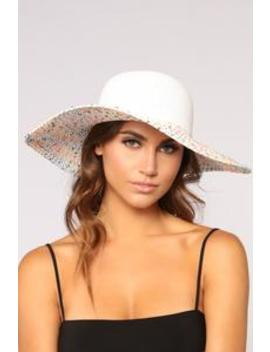 Jaw Breaking Sun Hat   White Multi by Fashion Nova