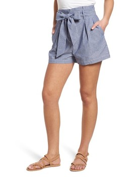Paperbag Waist Stripe Shorts by Socialite