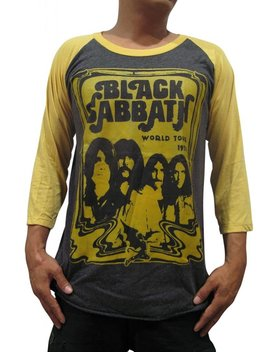 Bunny Brand Men's Black Sabbath Bloody Sabbath Ozzy Osbourne Music Raglan T Shirt by Bunny Brand