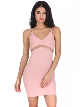 Blush Mesh Bodycon Mini Dress by Ax Paris