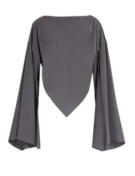 Boat Neck Triangular Hem Silk Blouse by Balenciaga