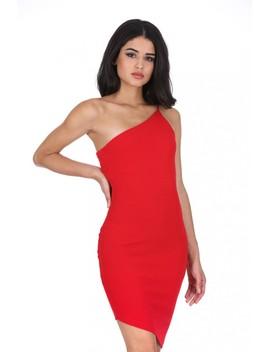 Red Off The Shoulder Asymmetric Hem Dress by Ax Paris
