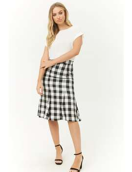 Gingham Calf Length Skirt by Forever 21