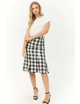 Gingham Calf Length Skirt by Forever 21