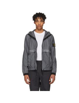 Grey & Black Hooded Jacket by Stone Island