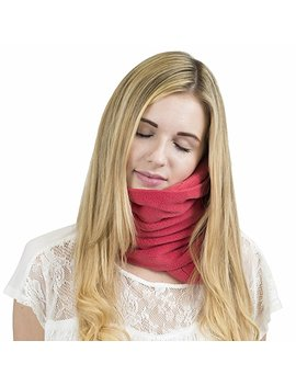 Trtl Pillow   Scientifically Proven Super Soft Neck Support Travel Pillow   Machine Washable Red by Amazon