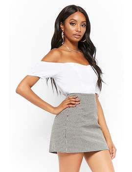 Twill Houndstooth Mini Skirt by Forever 21