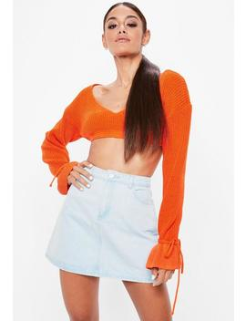 Orange Plunge Flare Sleeve Cropped Sweater by Missguided