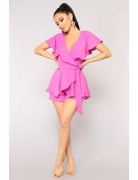 Got My Ruffles On Your Mind Romper   Magenta by Fashion Nova