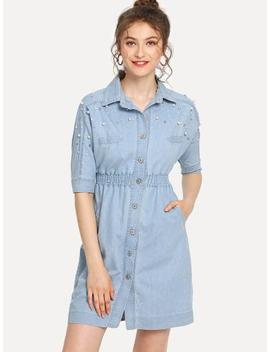 Elastic Waist Button Denim Dress by Sheinside