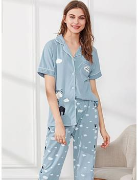 Contrast Binding Cloud Print Shirt & Pants Pj Set by Sheinside
