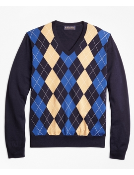 Supima® Cotton Cashmere Argyle V Neck Sweater by Brooks Brothers