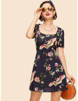 Square Neck Floral Dress by Shein