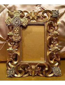 Gold 4x6 Picture Frame With Cross And Genuine Crystal Accents by Etsy