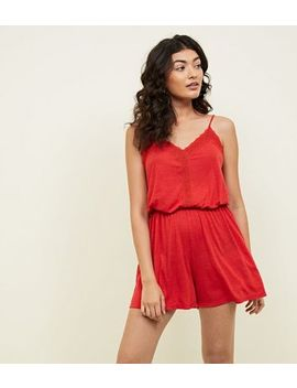 Jdy Red Lace Trim Playsuit by New Look