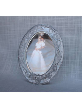 Mikasa Wedding Picture Frame, Bridal Lily Photo Frame, Crystal Glass Oval Picture Frame,  Vintage Japanese Bridal Frame, Bridal Shower Gift by Etsy