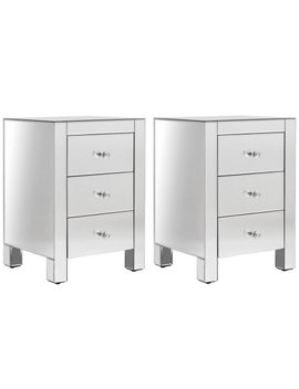 Costway 2 Pcs Mirrored Nightstand 3 Drawer Modern Mirror End Table Storage Cabinet by Costway