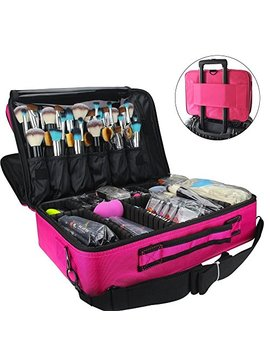 Monstina Makeup Train Case 3 Layer Cosmetic Organizer Beauty Artist Storage Brush Box With Shoulder Strap, Pink 16 Inch by Monstina